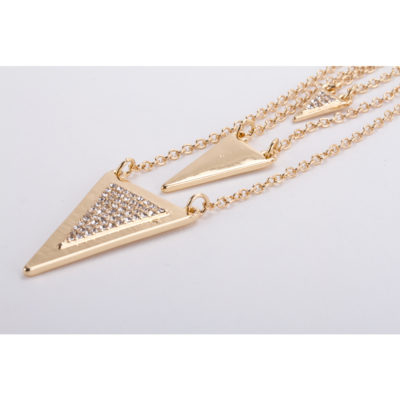 49c16e757b16 Aretes y Collar Largo Multi-Cadena Baño de Oro con Cristales Europeos Modelo  S003