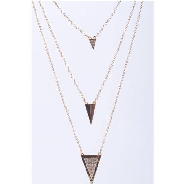 2dbf3f879377 Aretes y Collar Largo Multi-Cadena Baño de Oro con Cristales ...