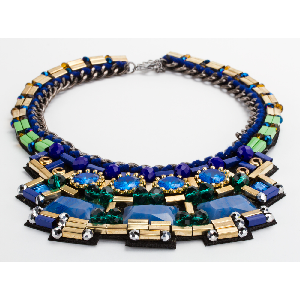 35cef90b1841 Collar Gargantilla Azul y Dorado Con Aretes de León Modelo C018