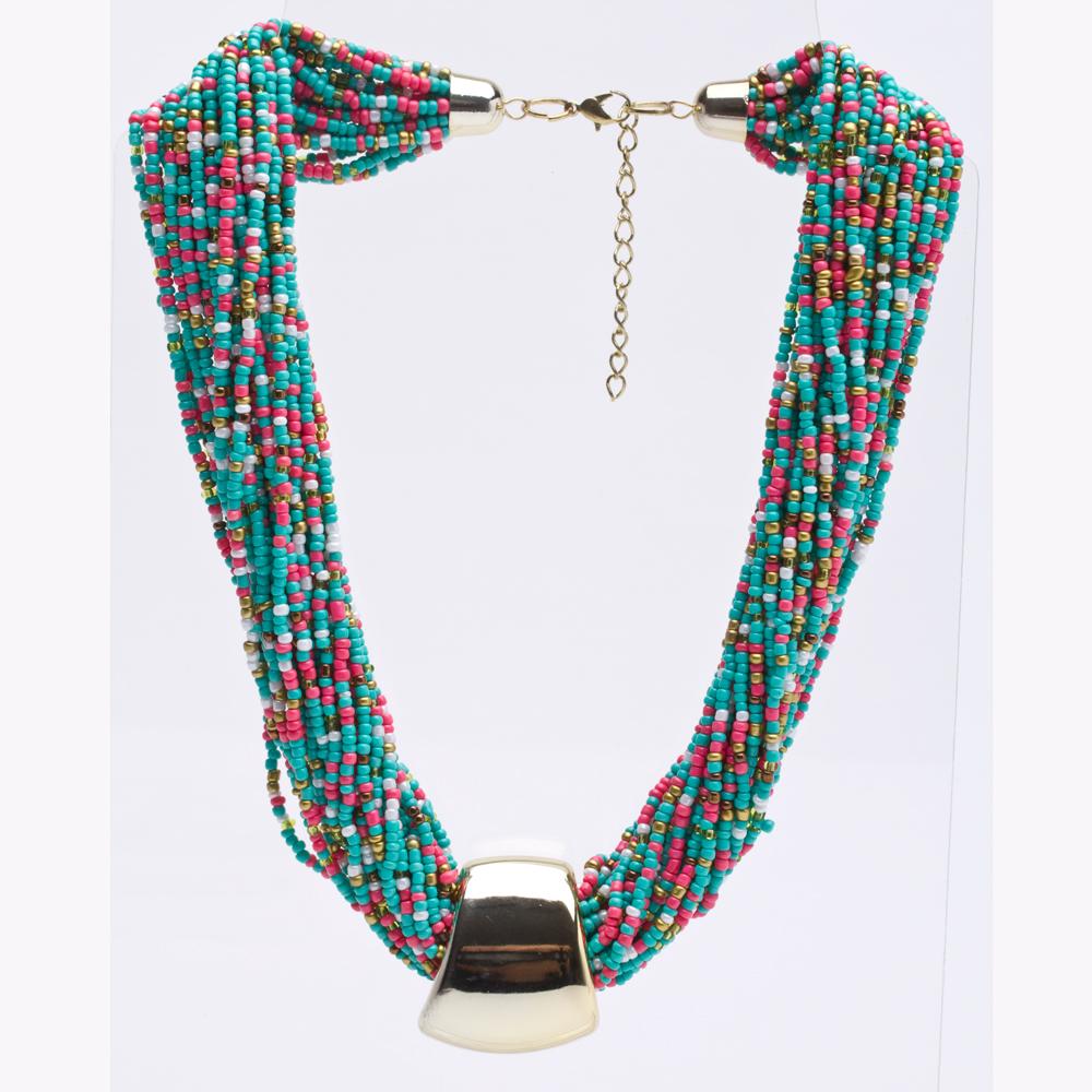 7a1f70e8df90 Collar Gargantilla Multi- Hilos Color Verde Turquesa Modelo C006 - Gossip  Collection