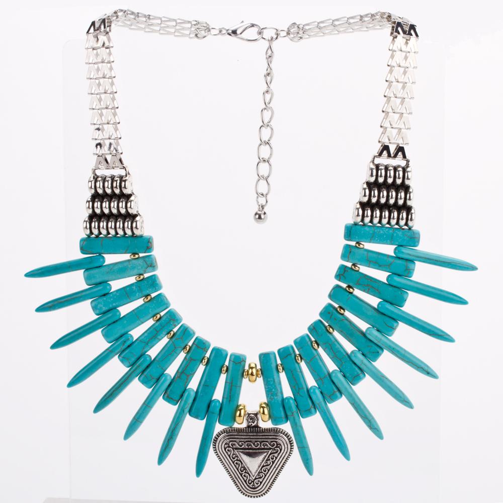 890f8c092b73 Collar Gargantilla Plateado Tibetano Azul Turquesa Modelo C009
