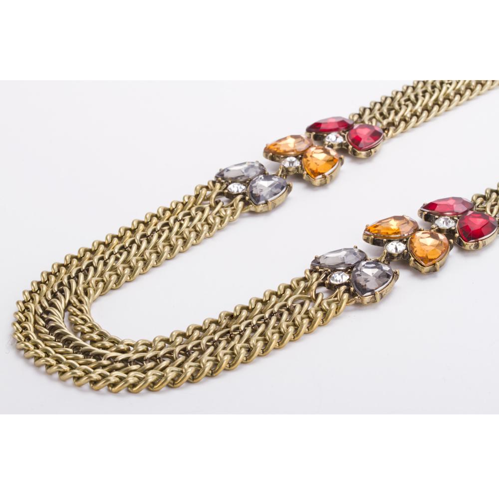 498ac9ac5845 Collar Gargantilla Vintage Multi- Cadenas Dorado y Aretes Modelo C010