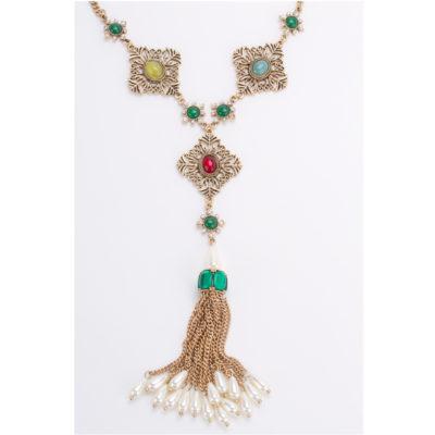 271d86894f9f Collar Largo Corbatero Dorado Con Perlas y Aretes Florales Modelo C017