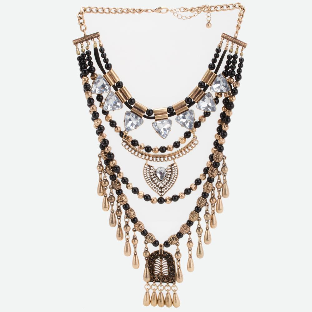 82ea8ce48542 Collar largo vintage multi capas – negro con dorado y aretes Modelo D104