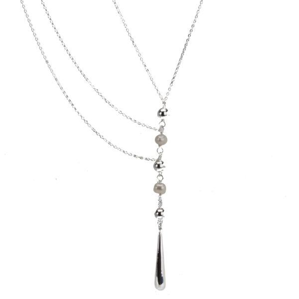 e0f7b9e01ca9 Collar Largo de Plata .925 con Perlas Multi-Cadenas Con Aretes ...