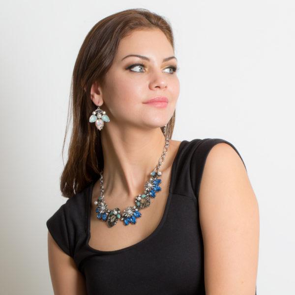 87f2e36d4c6b Collar Gargantilla Floral Azul Con Perlas - Modelo C025 - Gossip ...