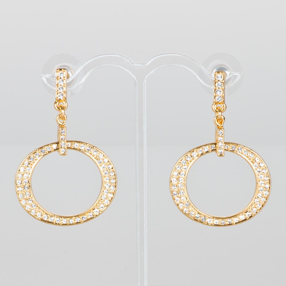 Aretes pave ovalo poste ba o de oro swarovski modelo for Bano de oro el yunque