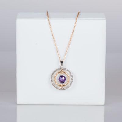 b6a966335270 Collar Baño de Oro con Cristal Morado – Modelo S016