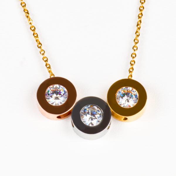 004a0ff9dbce Collar y Aretes en Tres Colores con Zirconia en Acero Inoxidable ...