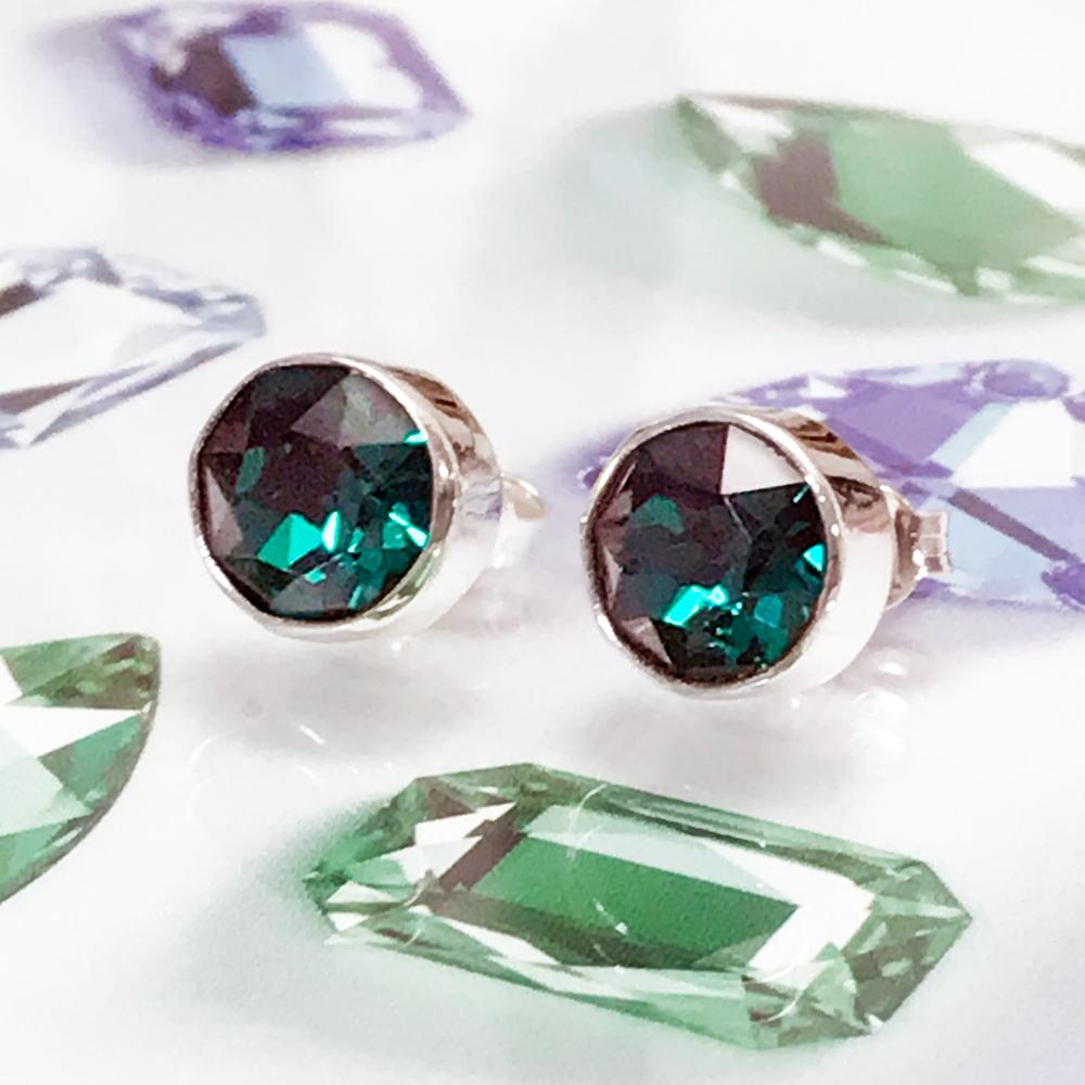 d4122af2b44d Aretes Color Esmeralda de Plata 925 con Swarovski®